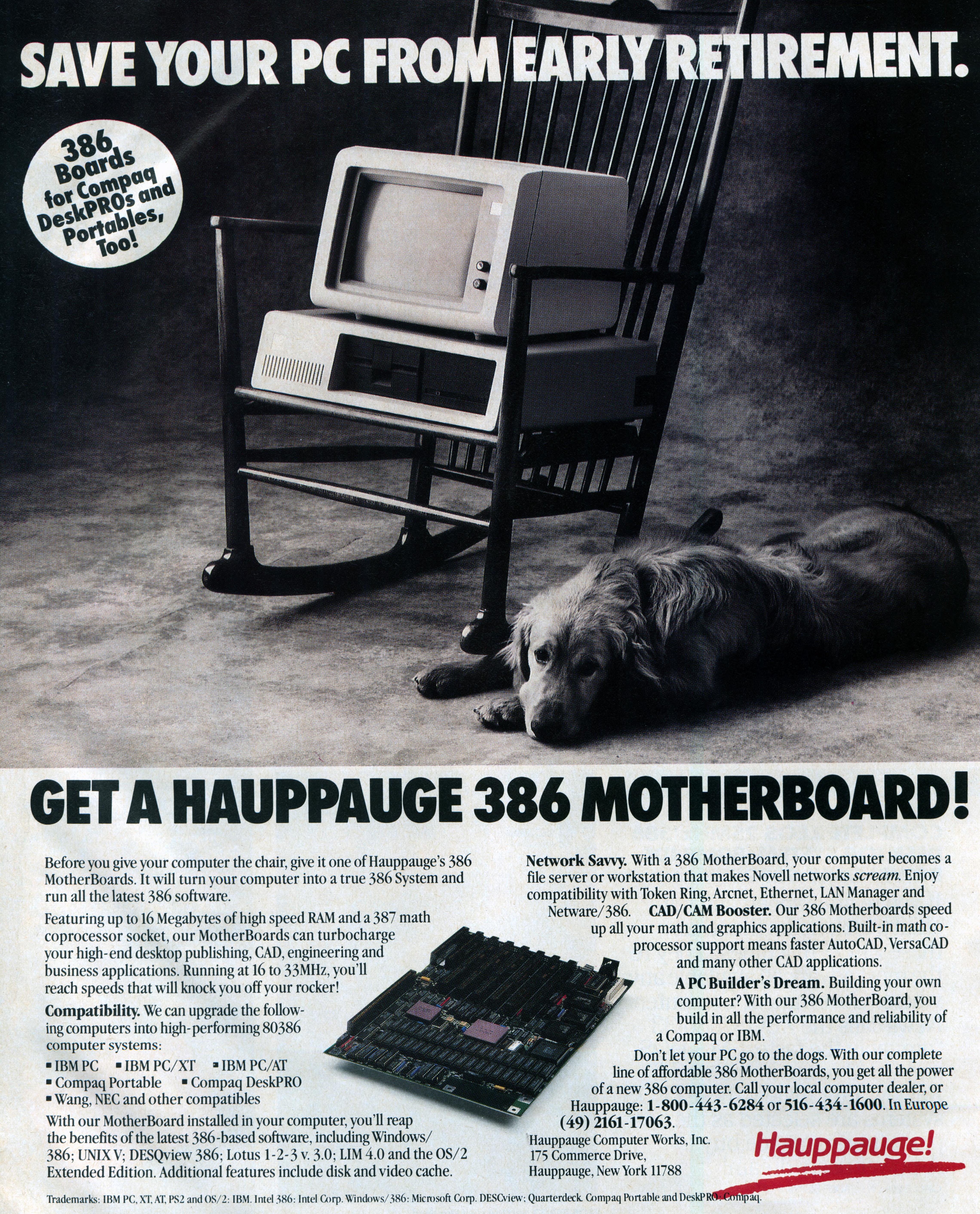 L'ancien commercial Hauppauge 386 de la carte mère