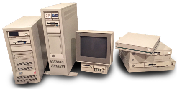 A collection of IBM computers from the 1990s